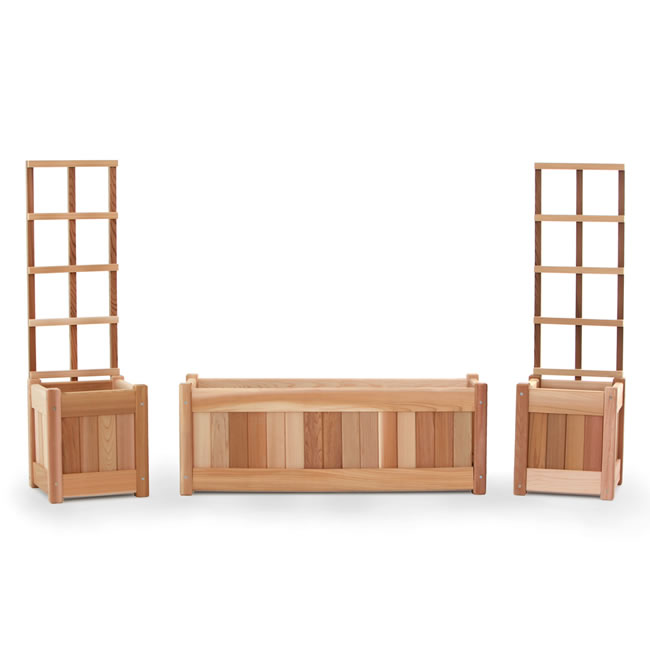 Five Piece Planter Set with Trellis