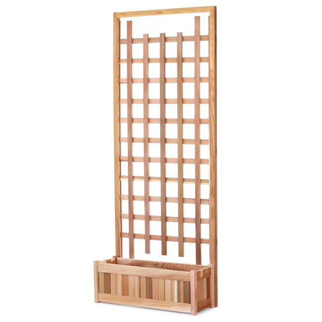 Two Piece Planter with Trellis Screen Set