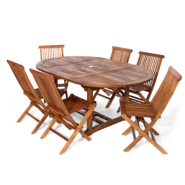 Seven Piece Oval Folding Chair Set