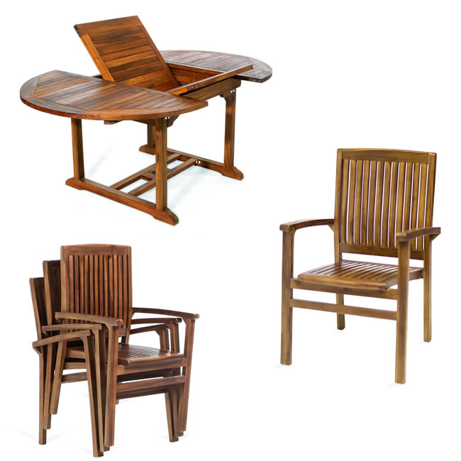Five Pieve Oval Stacking Chair Set