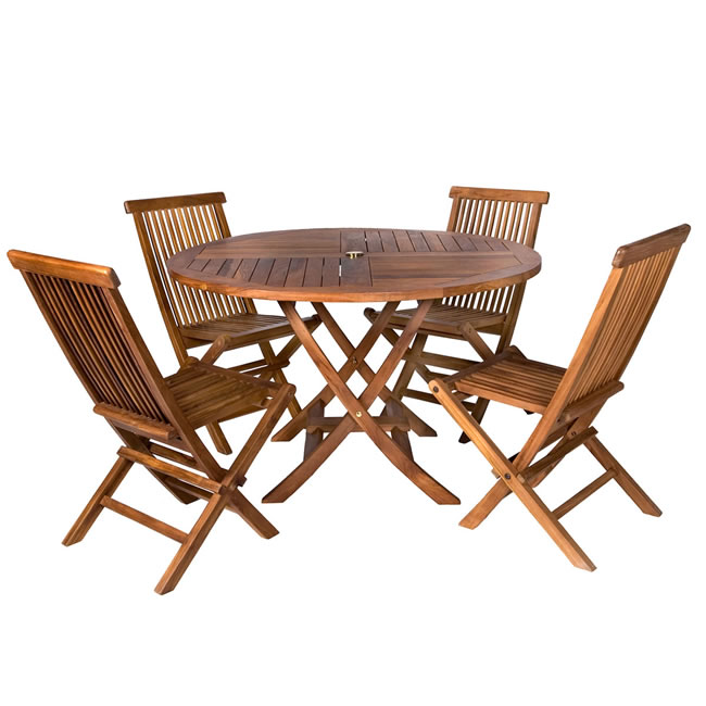 Teak Patio Table Set (Five Piece)
